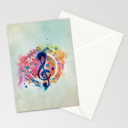 Fun Musical Notes and Treble Clef Paint Splatter Stationery Cards