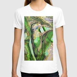 Kelly Green Aquamarine and Gold Acrylic Painting T-shirt