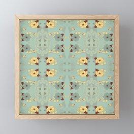 Slate Blue and Cream Modern Floral Graphic Print Framed Mini Art Print