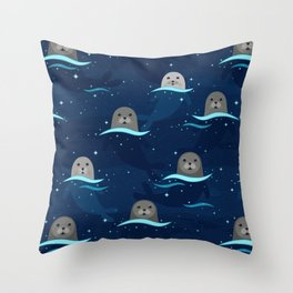 Seals in Glowing Sea Throw Pillow