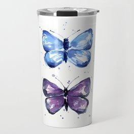 Butterflies Watercolor Blue and Purple Butterfly Travel Mug