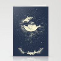 luna Stationery Cards featuring MOON CLIMBING by los tomatos