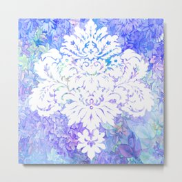 White Pattern on Floral Background Metal Print