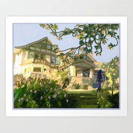 Seattle Historical Mansion Landscape Art Print