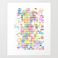 Houndstooth multi color watercolor Art Print