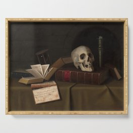 "Memento Mori, ""To This Favour"" by William Michael Harnett Serving Tray"