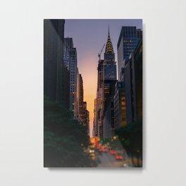 Sunset along 42nd Street, New York City Metal Print