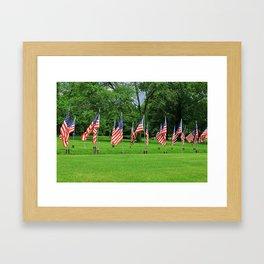 Flags Flying in Memoriam Framed Art Print