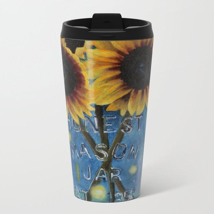 Lightning Bugs and Sunflowers Metal Travel Mug
