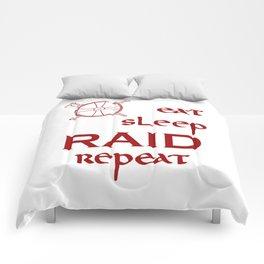 eat-sleep-RAID-repeat red, Vikings Comforters