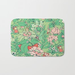 Garden party - sage tea version Bath Mat