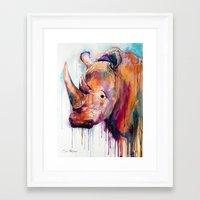 rhino Framed Art Prints featuring Rhino by Slaveika Aladjova