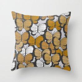 Golden butterflies Throw Pillow