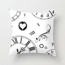 Roman Numeral Clock with Heart Throw Pillow