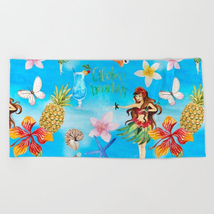 Aloha Beach Party Pattern With Hula Towel