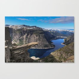 Trolltunga on a Blue Sky Day in Norway Canvas Print