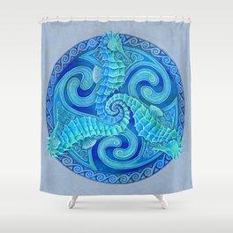 Seahorse Triskele Celtic Blue Spirals Mandala Shower Curtain