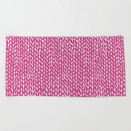 Hand Knit Hot Pink Beach Towel