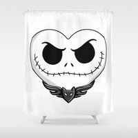 jack skellington Shower Curtains featuring Jack Skellington Heart Art by Sam Skyler