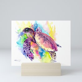 Sea Turtle in Coral Reef, tropical colors sea world purple yellow blue turtle art, turtle illustrati Mini Art Print