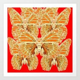 RED  RUSTY CREAMY MONARCH BUTTERFLIES PATTERN Art Print
