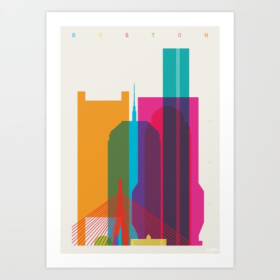 Shapes of Boston. Accurate to scale Art Print