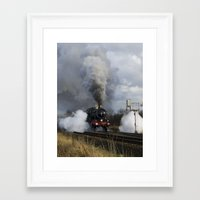 ashton irwin Framed Art Prints featuring Rood Ashton Hall steam locomotive by PICSL8