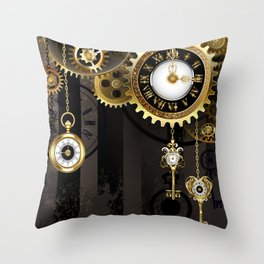 Antique Clock with Keys ( Steampunk ) Throw Pillow