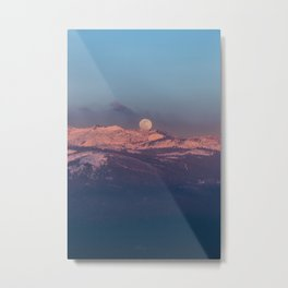 Moonrise over Snow Capped Mountains Metal Print