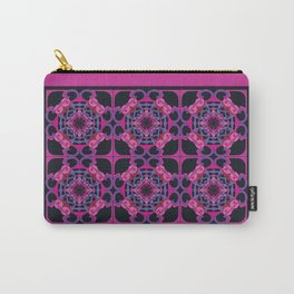 World Citizen Mandala Tiled - Fuchsia Black Carry-All Pouch