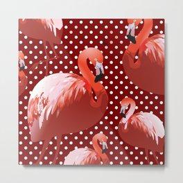 Watercolor Flamingo Pattern 7 Metal Print