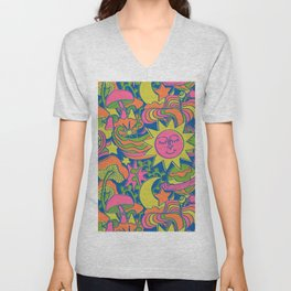 Psychedelic Daydream in Neon + Blue Unisex V-Neck