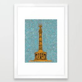Siegessäule Drawing Meditation - Blue Framed Art Print