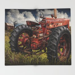 Abandoned Old Farmall Tractor in a Grassy Field on a Farm Throw Blanket
