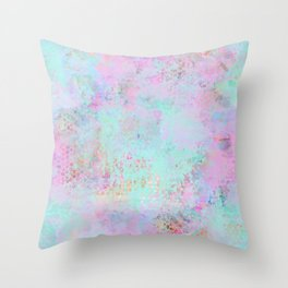 Subtle Pastel Painting In Pink And Turquoise Throw Pillow