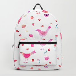 Birds and Blossoms Watercolor Backpack