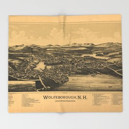 Aerial View of Wolfeborough, New Hampshire (1889) Throw Blanket