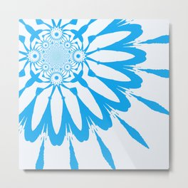 The Modern Flower White and Blue Metal Print