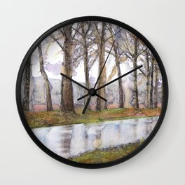 "Landscape Of A Road Fine Art Watercolor Painting  ""The Road Not Traveled"" Wall Clock"