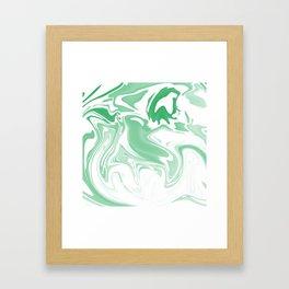 Green Abstract Ink Framed Art Print