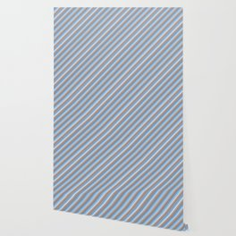 Blue Grey White Inclined Stripes Wallpaper