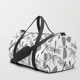 Dragonfly black and white Duffle Bag