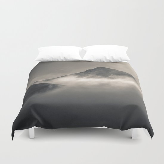 """Into the fog"". Foggy mountains Duvet Cover"