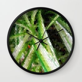 Spider plant green mosaic tile Wall Clock