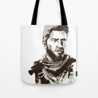 uncharted Tote Bags featuring Uncharted 3 by James Brunner