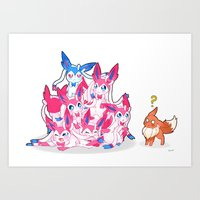 sylveon Art Prints featuring Sylveon Pile by Black Howl