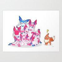 sylveon Art Prints featuring Sylveon Pile by SilviShinyStar