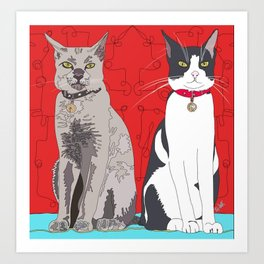 Two Tall Cats Art Print