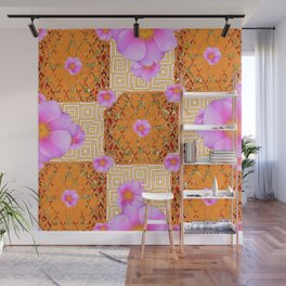 Quilted Style Fuchsia Pink Wild Rose Orange Pattern Abstract Wall Mural