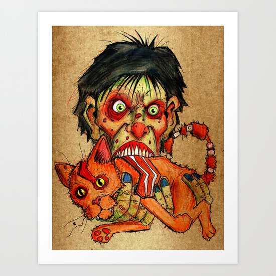 zombie eating bacon cat Art Print
